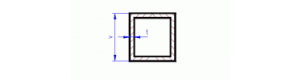 Mosazný profil čtvercového průřezu 3 x 3 x 0,30 mm, L=500 mm, MSZ 80333