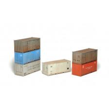 Stavebnice 20´ kontejnerů ČSD, SŽD, PKP, BDŽ, 6 kusů, TT, SDV 12097