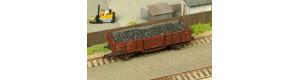 Náklad hnědého uhlí hrubší frakce do vozu Vtr Loco nebo Es Tillig staré konstrukce, TT, DOPRODEJ, TTMUhli103