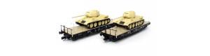Set dvou plošinových vozů ložených tanky T34/85, III. epocha, TT, Tillig 01801
