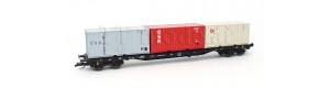 Kontejnerový vůz řady Rgs 3910, DR, se 3 různými kontejnery, IV. epocha, TT, Tillig 18127
