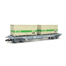 """Kapsový vůz """"NOVATRANS"""" se dvěma kontejnery, SNCF, IV. epocha, TT, Tillig 18156"""