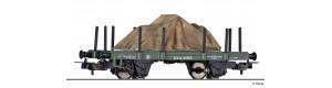 Plošinový vůz, s klanicemi, USTC, ložený Jeepem pod plachtou, III. epocha, H0, Tillig 76773