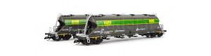 Set dvou vozů pro přepravu sypkých hmot, Ermewa/Captrain/AGRO, VI. epocha, TT, Tillig 01002
