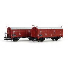Set dvou nákladních vozů Kmmgks 58 s posuvnou střechou, DB, III. epocha, TT, Tillig 01032
