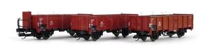 Set tří otevřených vozů, DB, s nákladem uhlí, TT, III. epocha, Tillig 01035