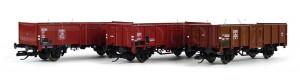 Set tří otevřených vozů EUROP, DB, SBB a DSB, s nákladem uhlí, TT, III. epocha, Tillig 01036