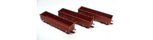 """Set tří otevřených nákladních vozů Eaos """"On Rail GmbH"""", DB a BDZ, TT, V. epocha, DOPRODEJ, Tillig 01678"""