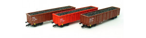 Set tří nákladních otevřených vozů ložených uhlím, DB AG, V. epocha, TT, Tillig 01794