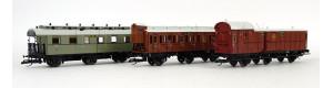 """Set osobního vlaku """"Mecklenburgischer Reisezug"""", M.F.F.E., I. epocha, TT, jednorázová série, Tillig 01018 E"""