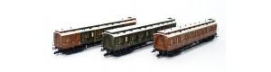 Set tří osobních vozů, K.P.E.V., I. epocha, TT, Tillig 01814