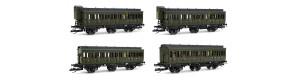 Set čtyř osobních 3osých vozů, DRG, II. epocha, TT, Tillig 01815