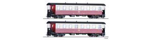Set dvou úzkorozchodných osobních vozů KB, červeno-krémové, HSB, V.-VI. epocha, H0e, Tillig 03982