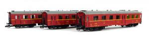 Set tří osobních vozů 2. třídy typu Altenberg, ČSD, III. epocha, TT,DOPRODEJ, Kuehn 42145
