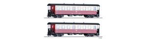 Set dvou úzkorozchodných osobních vozů KB4ip, červeno-krémové, DR, IV. epocha, H0e, Tillig 03981