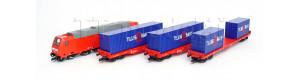 Základní sada TT, 3 nákl. vozy, loko Traxx, kolejový ovál, regulátor, TT, Tillig 01445