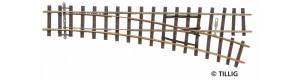 Úzkorozchodná výhybka pravá, úhel 18 °, R 490 mm, délka 155 mm, H0m, Tillig 85631