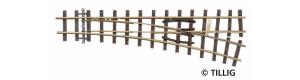 Úzkorozchodná výhybka pravá, úhel 18 °, R 409 mm, délka 128 mm, H0e, Tillig 85637