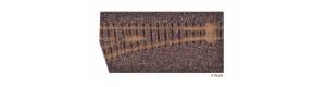Kolejové lože pro levou úzkorozchodnou výhybku, hnědé, úhel 18 °, H0m, Tillig 86722