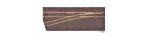 Kolejové lože pro levou úzkorozchodnou odbočku, hnědé, H0/H0m, Tillig 86732