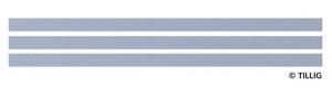 Povrch komunikace s asfaltem/betonem, 316,8 mm, 3 kusy, tramvajové kolejivo Luna, TT/H0m, Tillig 87319