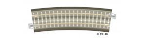 Oblouková kolej s podložím BR 31, R 396 mm/15 st., hnědé pražce, TT, Tillig 83781