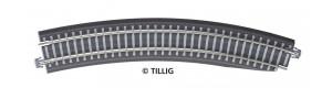 Oblouková kolej s podložím BR 11-32kre, se zkosením pro výhybku, pravá, R 396 mm/30 st., šedé pražce, TT, Tillig 83773