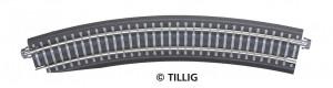 Oblouková kolej s podložím BR 11-32kli, se zkosením pro výhybku, levá, R 396 mm/30 st., šedé pražce, TT, Tillig 83774