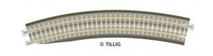 Oblouková kolej s podložím BR 11-32kli, se zkosením pro výhybku, levá, R 396 mm/30 st., hnědé pražce, TT, Tillig 83784