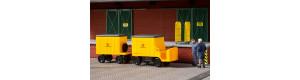 Poštovní vozík akumulátorový, ještěrka, s přívěsem, TT, Auhagen 43663