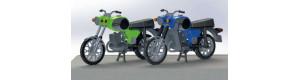 Dva motocykly MZ TS 250, zelený a modrý, H0, Kres 10251