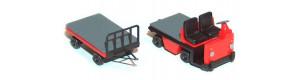Vozík akumulátorový, ještěrka, plošinový s přívěsným vozíkem, TT, Miniatur MT07