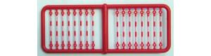 Tažné tyče, červeno-bílé, 14 kusů, TT, Haedl 910014