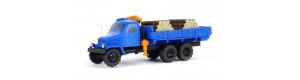 Praga V3S s mechanickou rukou a nákladem dřeva, hotový model, barva modrá, TT, Pavlas APH13a