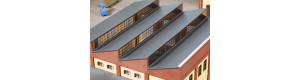 Střecha s červenými cihlovými štíty, H0, Auhagen 80308