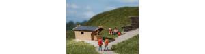 Zahradní chatky (bungalovy), 2 kusy, H0/TT, Auhagen 42642