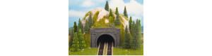 Tunelový portál dvojkolejný, kamenný, 2 kusy, TT, Noch 48800