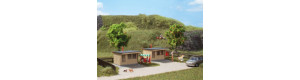 Zahradní chatky (bungalovy), 2 kusy, H0/TT, Auhagen 12339