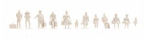 Figurky cestujících, 1:100, nebarvené, řada pro architekty, Noch 16001