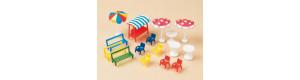 Lavičky, židle, stoly a slunečníky, H0/TT, Auhagen 42569