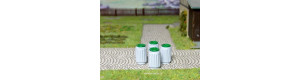 Odpadkové koše s výměnnou vložkou, 4 kusy, H0, ES Pečky 23354