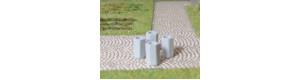 Odpadkové koše betonové, 4 kusy, H0, ES Pečky 23363