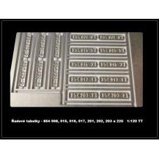 Řadové tabulky MVTV 2, TT, Modely mašinek TT-MVTV2 Tab