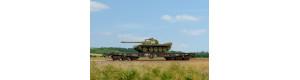 Stavebnice plošinového vozu Sammp 10 s tankem T-54/55, ČSD, IV. epocha, TT, SDV 12092