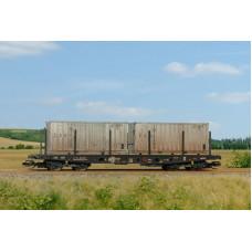 Stavebnice plošinového vozu Smmp 10, ČSD, se dvěma kontejnery, IV. epocha, TT, SDV 12095