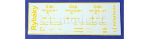 Obtisky s popisy pro vůz Be - Rybák, TT, DK model TT0936