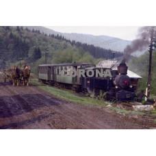 Pohlednice, vlak do Kyslinky vede viglašská kolbenka - říjen 1972, Corona CPV021