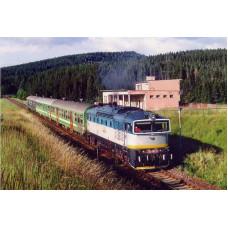 Pohlednice, motorová okomotiva 750.182 v zastávce H.Štubňa - červenec 2001, Corona CPV029