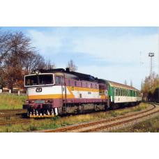 Pohlednice, motorová lokomotiva 750.225 ve st.Hlinsko v Čechách-listopad 2000, Corona CPV031