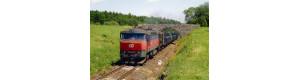 Pohlednice, motorová lokomotiva 751.338 před zastávkou Hradec - červen 2006, Corona CPV043